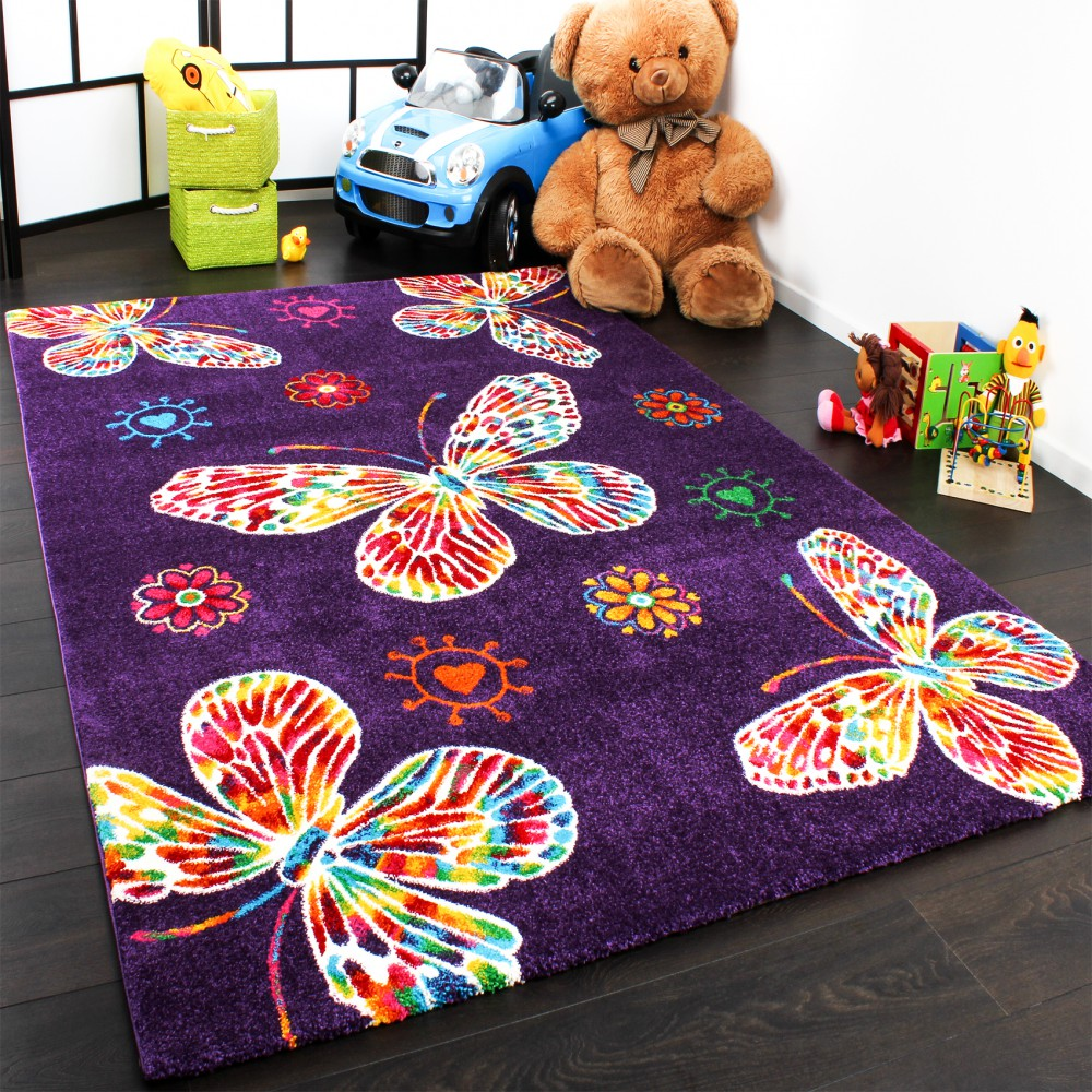 tapis pour enfant moderne design avec papillons en purpre violet qualit top tapis enfants. Black Bedroom Furniture Sets. Home Design Ideas
