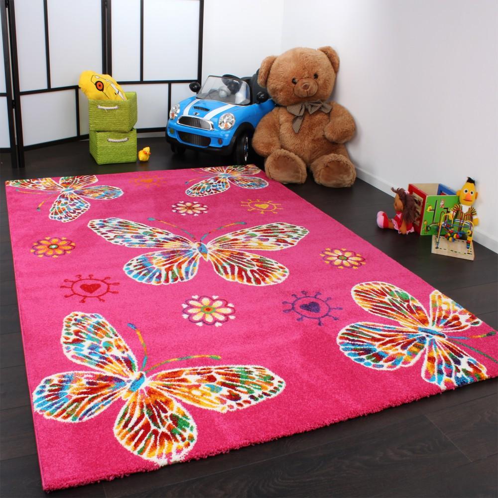 Kids' Rug - Butterfly Design - Magenta Multicoloured