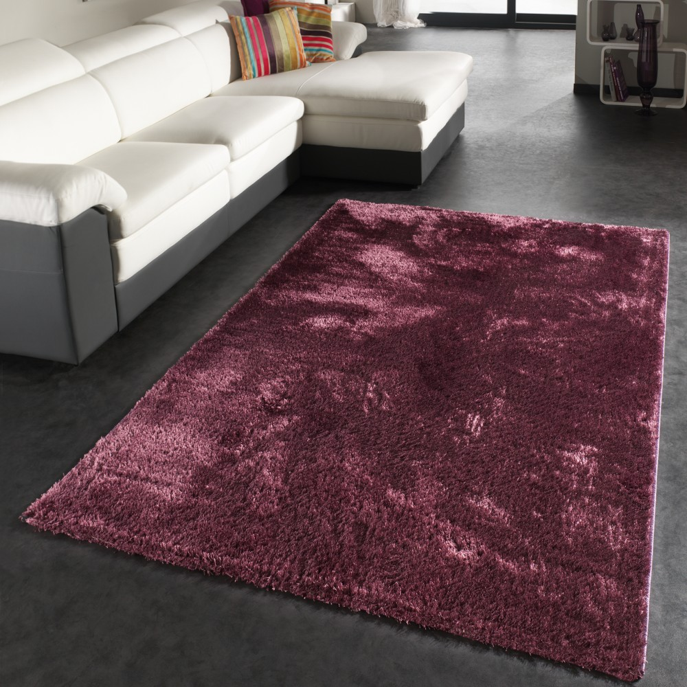 Rug High Pile / Shaggy Carpet / Soft Shiny Long Pile In Purple / Violet