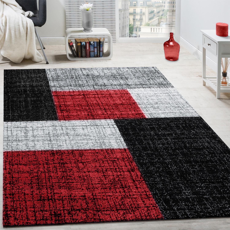 Designer Teppich Modern Kariert Kurzflor Teppich Design Meliert Braun Creme Rot