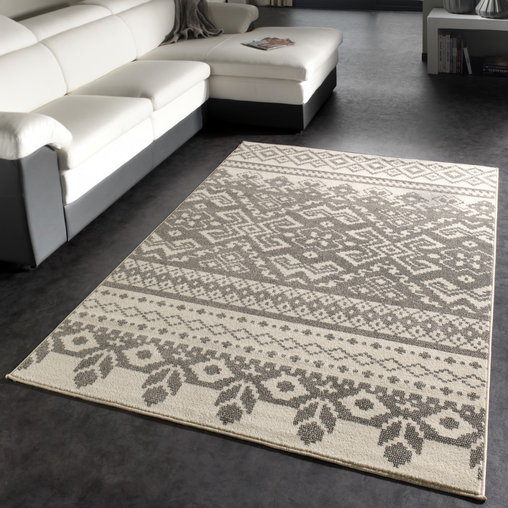 Classic Carpet  Short-Pile Carpet Velour Carpet Pattern In  Cream Grey