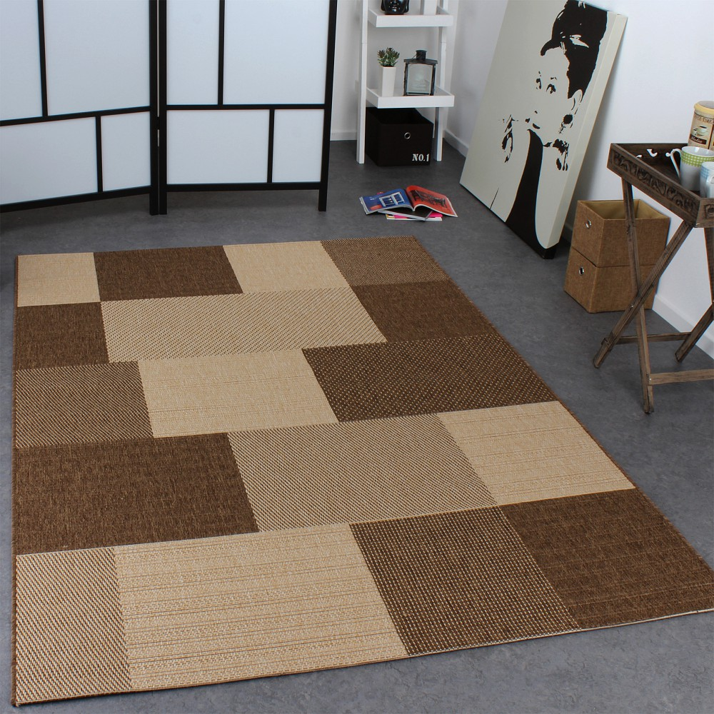 Carpet Modern Flat Weave Checked Sisal Look Designer Carpet Natural Beige Cream