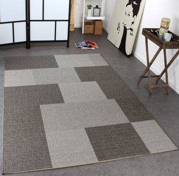 Carpet Modern Flat Weave Checked Sisal Look Designer Carpet Grey Tones – Bild 1