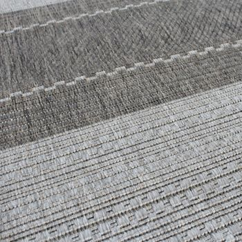 Carpet Modern Flat Weave Striped Designer Carpet Sisal Look Grey Tones – Bild 3