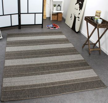 Carpet Modern Flat Weave Striped Designer Carpet Sisal Look Grey Tones – Bild 1