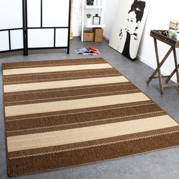 Carpet Modern Flat Weave Stripes Sisal Look Designer Carpet Beige Cream – Bild 1