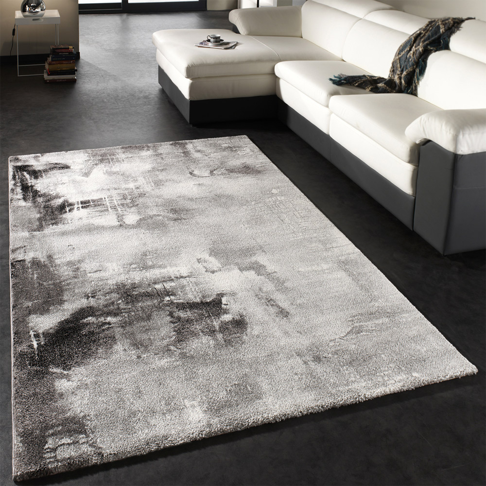 Designer Rug Contemporary Textured Canvas Mottled Grey Black White