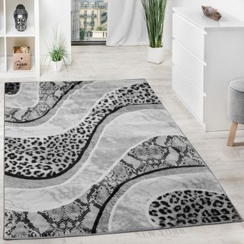 Luxury Designer Rug - Animal Print - Leopard - Snake - Grey Black Cream – Bild 1