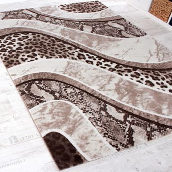 Luxury Designer Rug - Animal Print - Leopard - Snake - Brown Beige Cream – Bild 2
