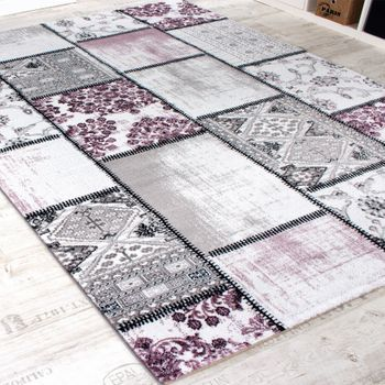 Designer Rug - Vintage Design - Faded Patchwork - Purple White – Bild 2