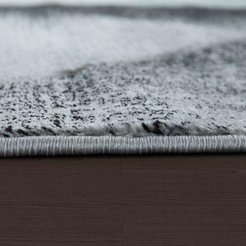 Edler Designer Teppich Kariert mit Konturenschnitt in Grau Schwarz Creme Meliert – Bild 2