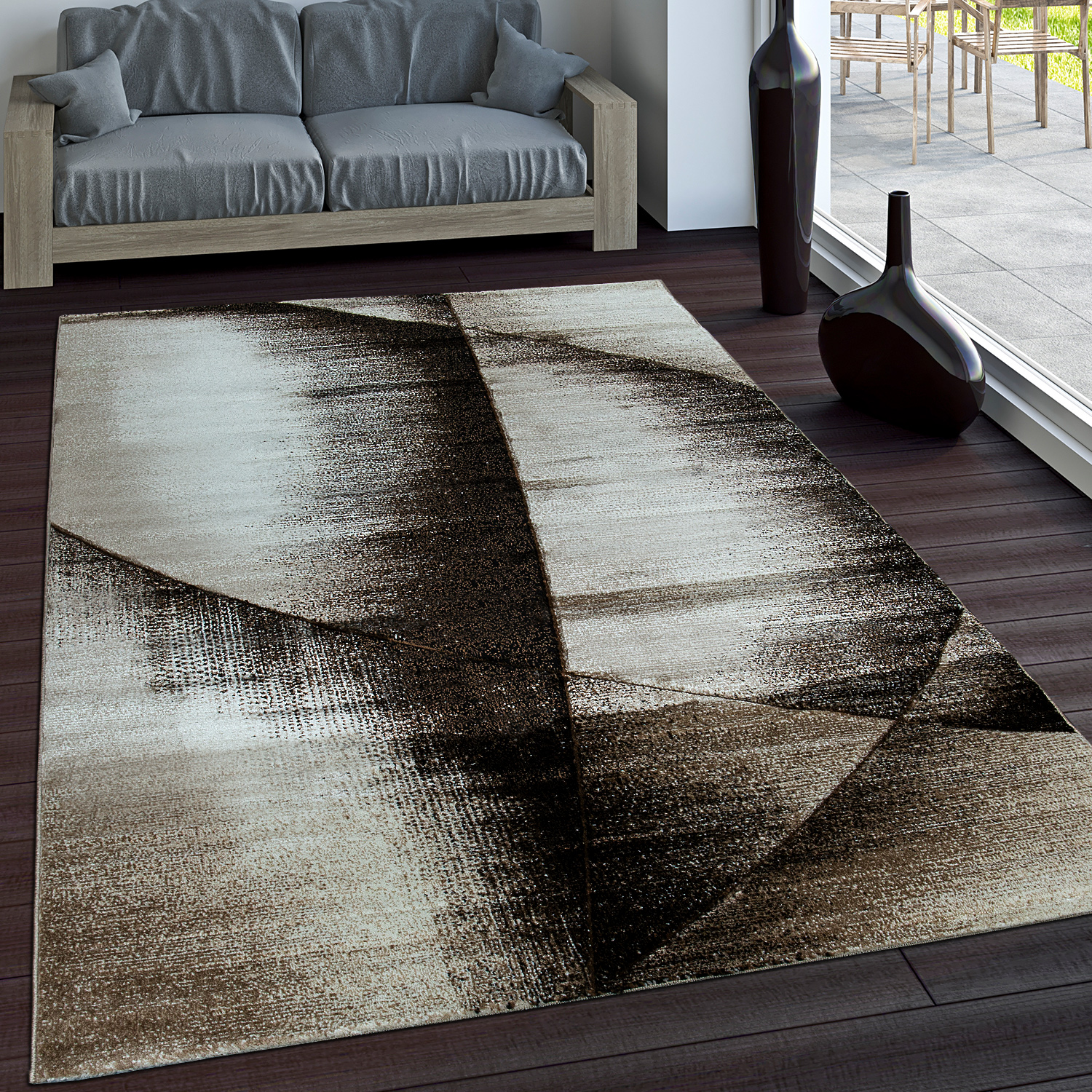Luxury Designer Rug - Contour Cut - Geometric - Mottled Brown Beige Cream