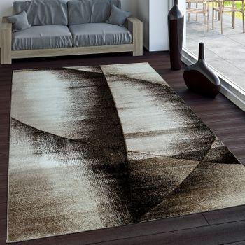 Edler Designer Teppich Kariert mit Konturenschnitt in Braun Beige Creme Meliert – Bild 1