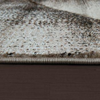 Edler Designer Teppich Kariert mit Konturenschnitt in Braun Beige Creme Meliert – Bild 2