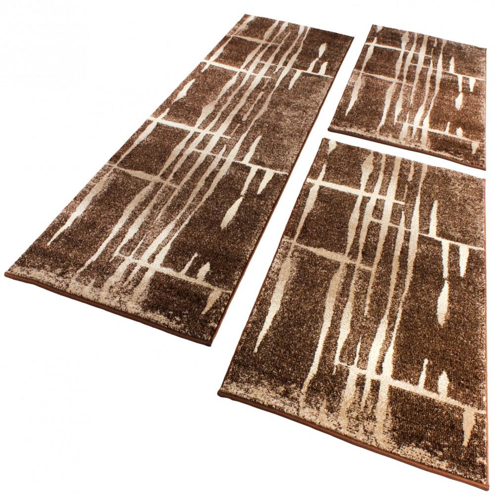 ensemble de tapis couloir tour de lit design moderne brun beige crme 3 pices - Tapis De Couloir