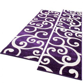 Bedroom Runners - Swirl - Purple Cream