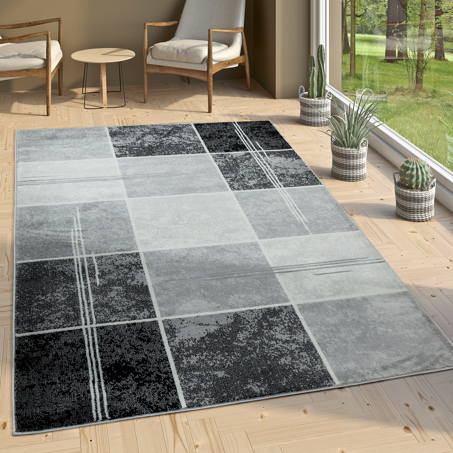 Designer Rug Chequered in Marble Visual Effect Flecked Grey Black White