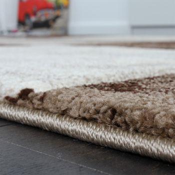 Designer Teppich Modern mit Konturenschnitt Karo Muster Marmor Optik Braun Creme – Bild 3