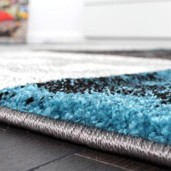 Designer Teppich Modern mit Konturenschnitt Karo Muster Marmor Optik Grau Türkis – Bild 4