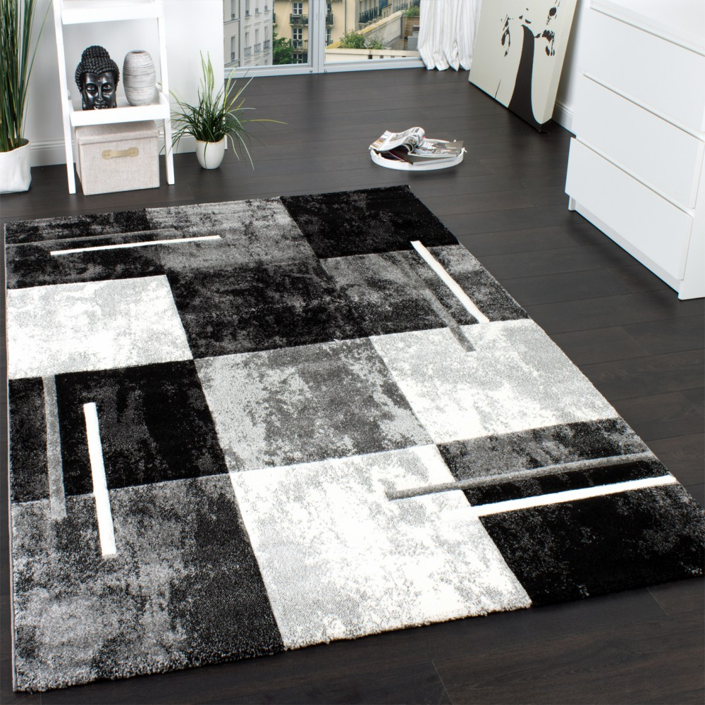 Designer Rug   Contour Cut   Geometric   Marble Look   Grey Cream