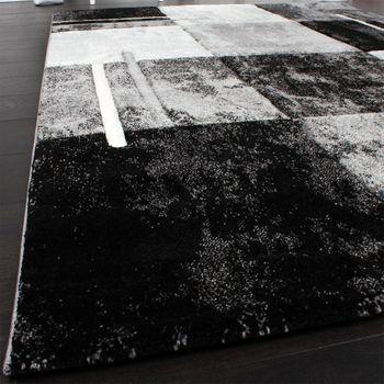Designer Teppich Modern mit Konturenschnitt Karo Muster Marmor Optik Grau  – Bild 3