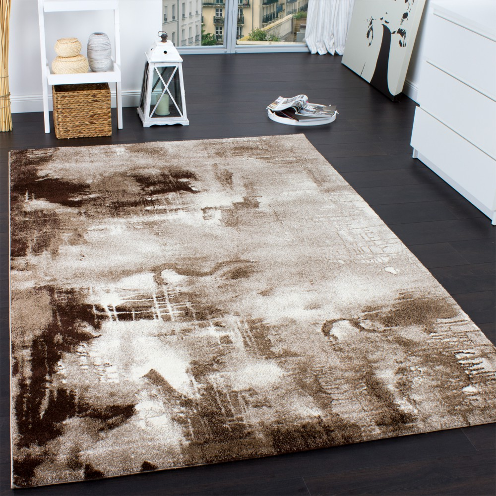 designer rug contemporary textured canvas mottled brown beige cream Beige Rug