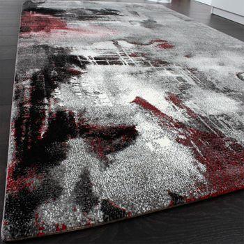 Teppich Modern Designer Teppich Leinwand Optik Meliert Schattiert Grau Rot Creme – Bild 2