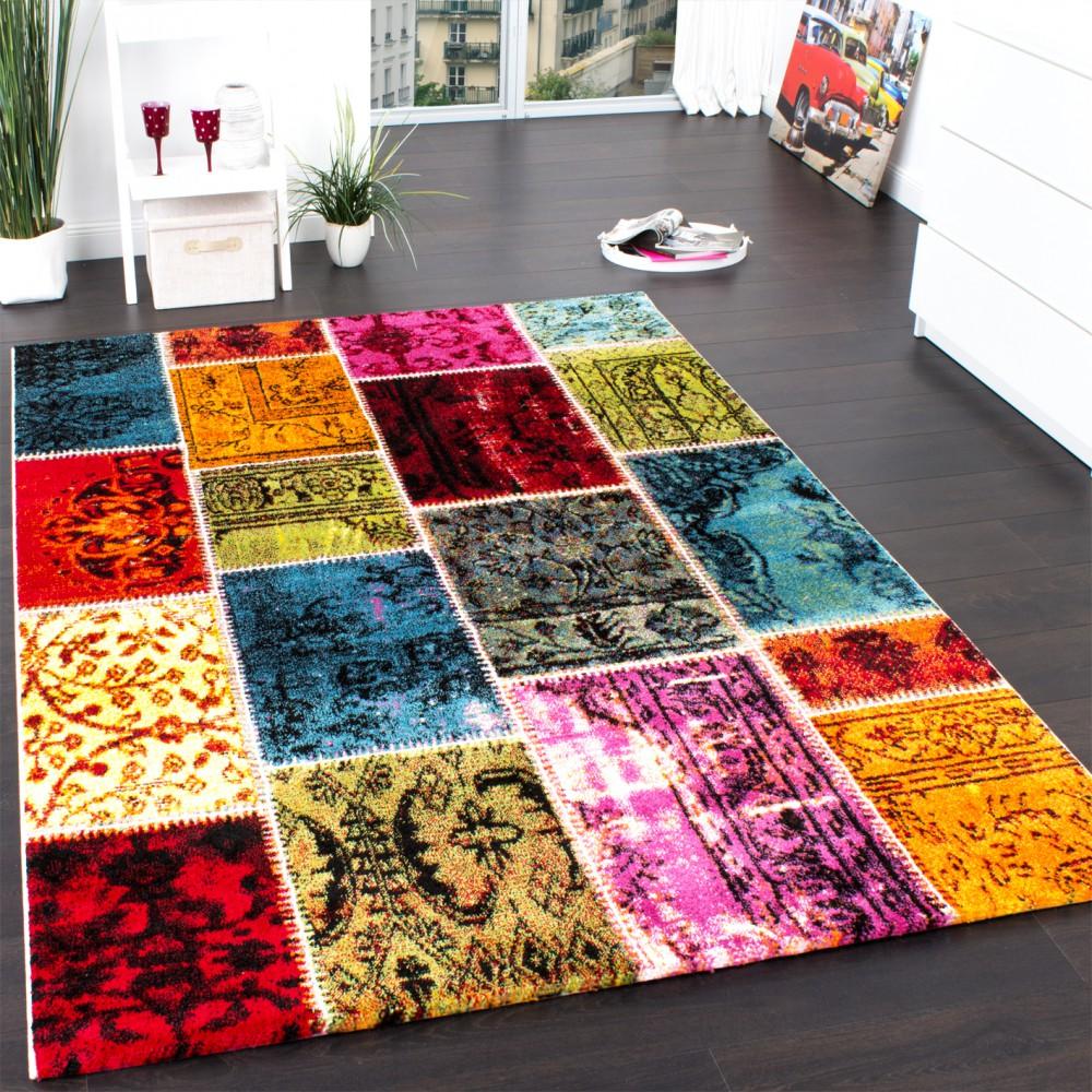 Teppich Modern Designer Teppich Patchwork Vintage Multicolour Grün Rot Gelb Blau
