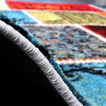 Teppich Modern Designer Teppich Patchwork Vintage Multicolour Grün Rot Gelb Blau – Bild 5