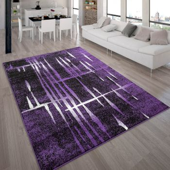 Designer Rug - Contemporary - Short Pile - Mottled Purple Black Cream – Bild 1