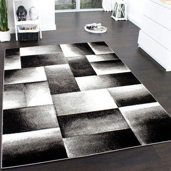 Designer Teppich Modern Trendiger Teppich Kariert Muster Grau Schwarz Meliert – Bild 1