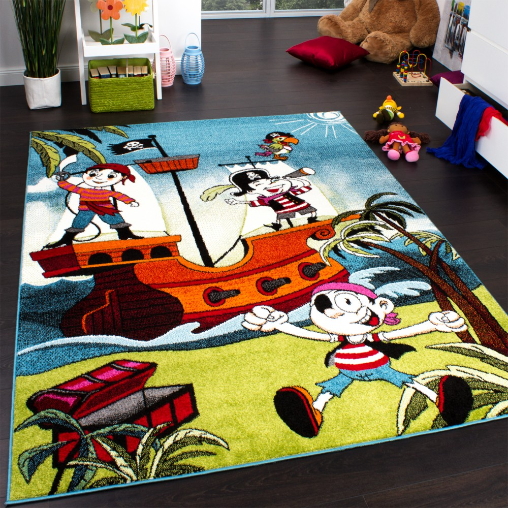Kids' Rug - Pirates - Jolly Roger - Multicoloured - Turquoise