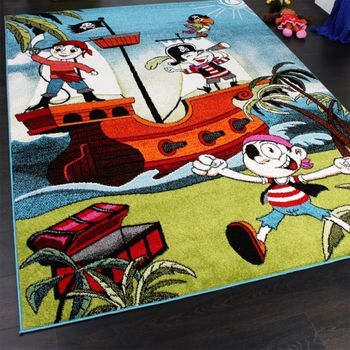 Kids' Rug - Pirates - Jolly Roger - Multicoloured - Turquoise – Bild 2