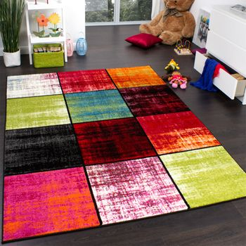 Kids' Rug - Squared Design - Multicoloured - Mottled Red Pink Green Blue – Bild 1
