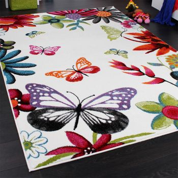 Kids' Rug - Butterfly - Multicoloured Cream – Bild 2