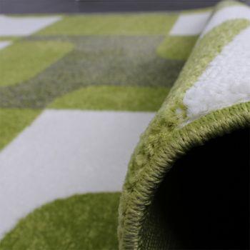 Designer Teppich Trendiger Retro Teppich Kurzflor Webteppich in Grün Grau Creme – Bild 3