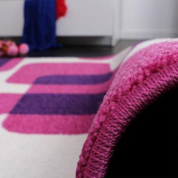 Teppich Kinderzimmer Trendiger Retro Kinderteppich in Pink Lila Creme – Bild 3
