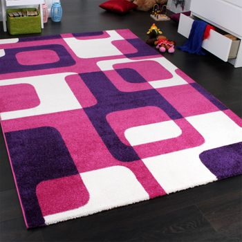 Designer Rug - Kids - Woven - Trendy Retro Style - Magenta Purple Cream – Bild 2