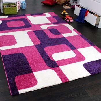 Teppich Kinderzimmer Trendiger Retro Kinderteppich in Pink Lila Creme – Bild 2