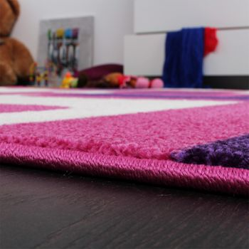 Designer Rug - Kids - Woven - Trendy Retro Style - Magenta Purple Cream – Bild 4