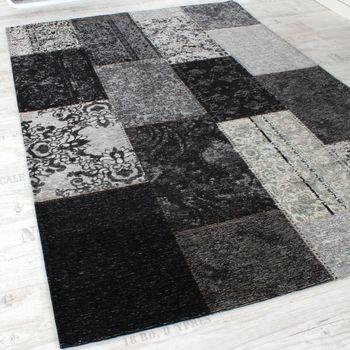 Vintage Teppich -Antik- Trendiger Patchwork Stil Designer Teppich in Grau – Bild 2