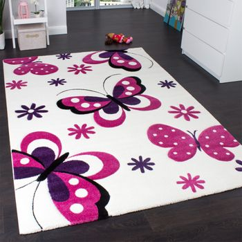 Kids' Rug - Butterfly Design - Children's Rug - Creme Pink Purple – Bild 1