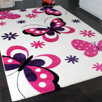Kids' Rug - Butterfly Design - Children's Rug - Creme Pink Purple – Bild 2