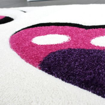 Kids' Rug - Butterfly Design - Children's Rug - Creme Pink Purple – Bild 4