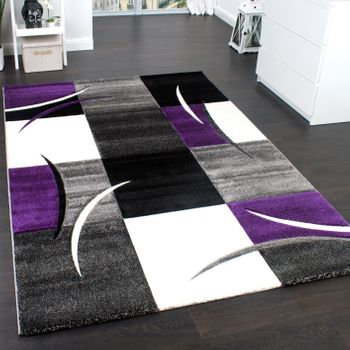 Designer Carpet Geometric Purple Black Creme