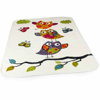 Blankets Children's Owls Cuddle Colourful Cute Owls Bedding In Cream – Bild 1