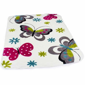 Blankets Children's Butterflies Cuddle Colourful Butterfly Bedding In Cream – Bild 1