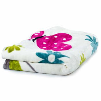 Blankets Children's Butterflies Cuddle Colourful Butterfly Bedding In Cream – Bild 2