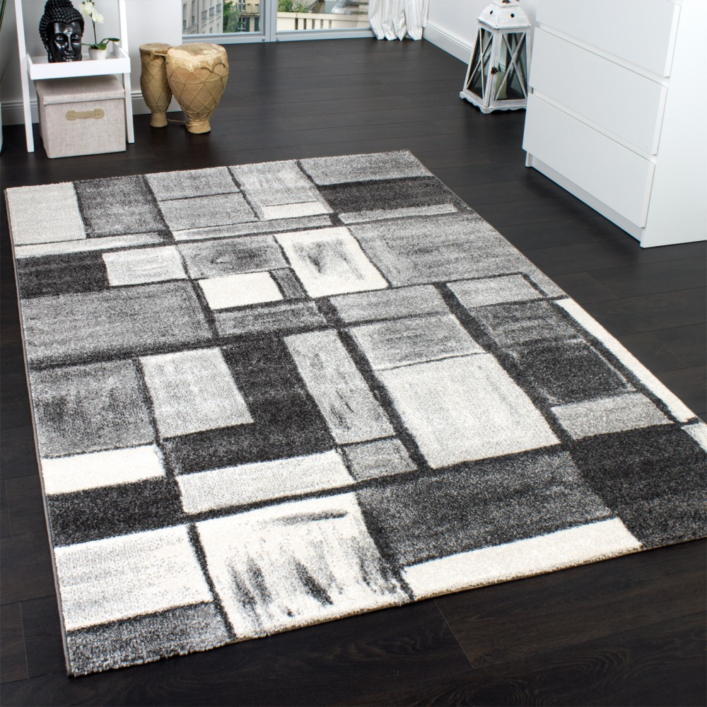 Checkered Flag Rug: Designer Carpet Modern Home Rug In Grey