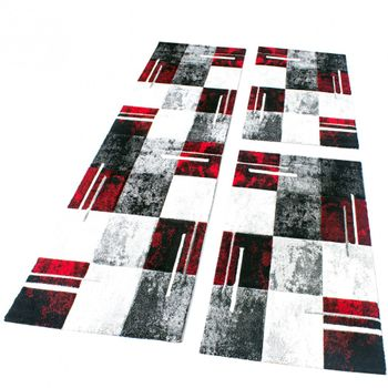Bedroom Runners Set Of 3 Red Grey Black